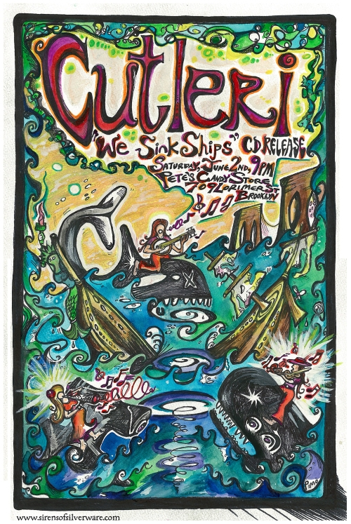 Cutleri CD Release Show! Sat. June 2nd 9pm at Pete's Candy Store!